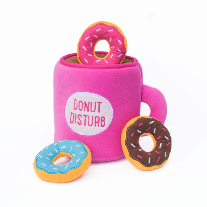 Zippy Burrow Donutz with Coffee Interactive Plush Dog Toy