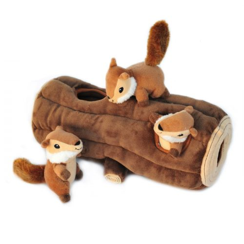 Zippy Burrow Log with 3 Chipmunks Interactive Dog Toy