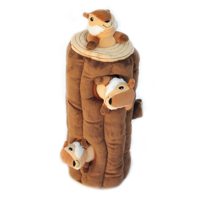 Zippy Burrow Log with Chipmunks Hide & Seek Dog Toy
