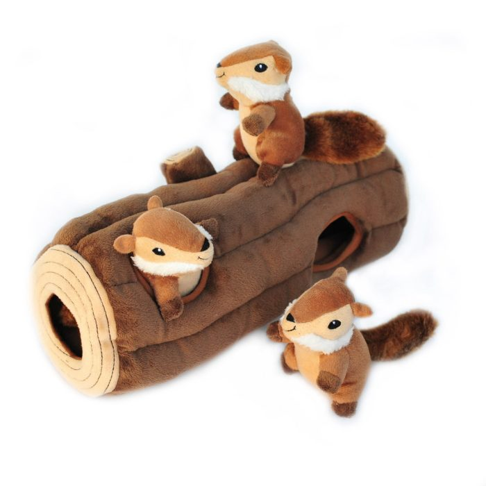 Zippy Burrow Log with Chipmunks Interactive Dog Toy