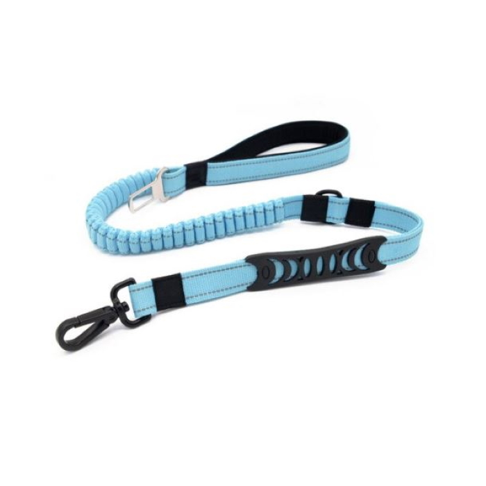 2 in 1 Dog Leash Seatbelt Connector Blue