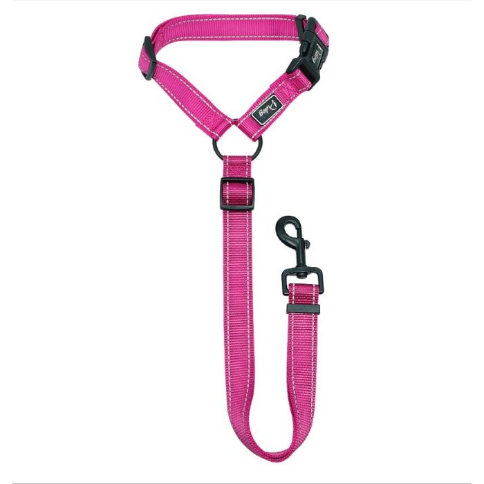 Adjustable Car Headrest Restraint for Dogs Pink