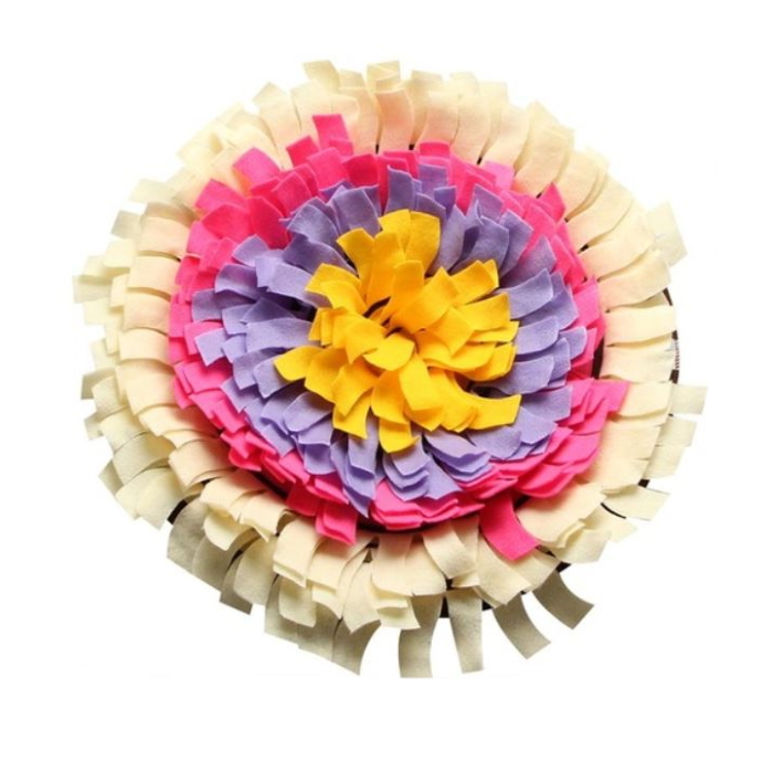 Interactive Round Snuffle Mat for Dogs_Cream
