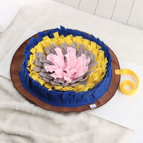 Interactive Round Snuffle Mat for Dogs_Navy
