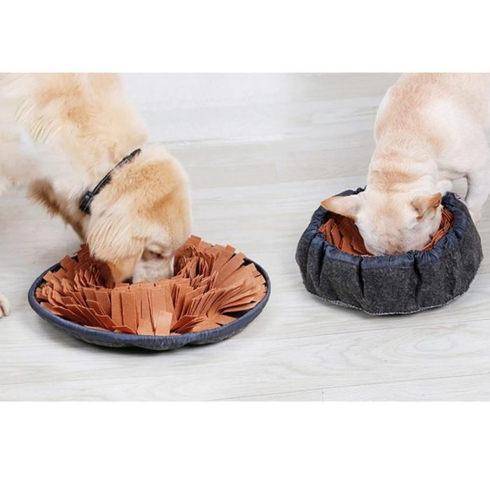 Round Cinch Top Snuffle Mat Bowl for Dogs_Brown_Grey
