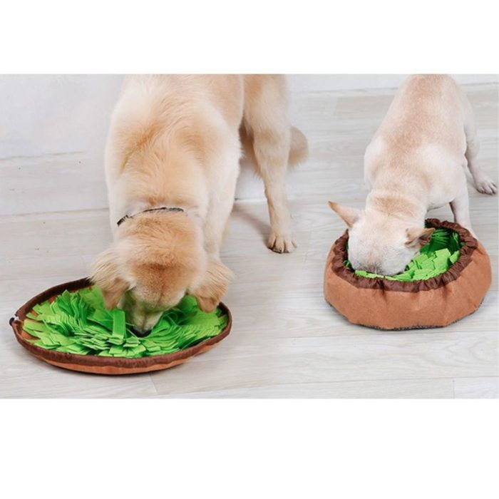 Round Cinch Top Snuffle Mat Bowl for Dogs_Green_Brown