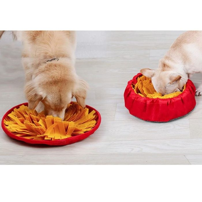 Round Cinch Top Snuffle Mat Bowl for Dogs_Yellow_Red