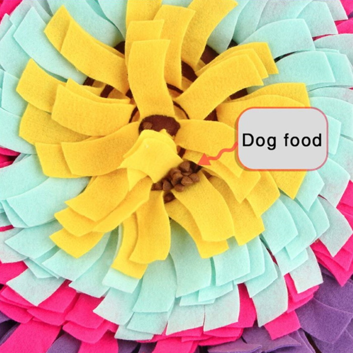 Round Snuffle Mat for Dogs_Purple_kibble