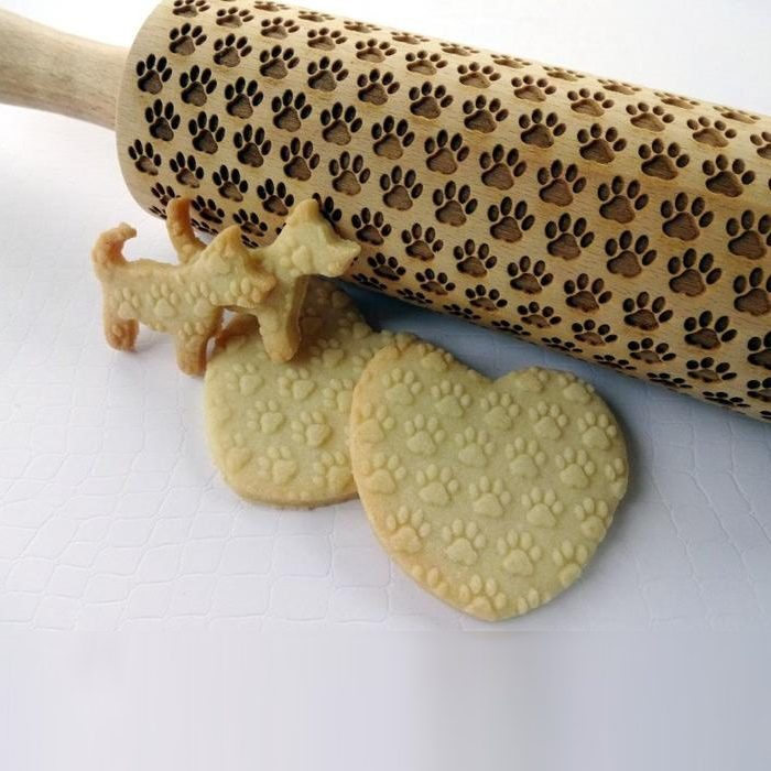 Embossed Wooden Rolling Pins_Dog Paw