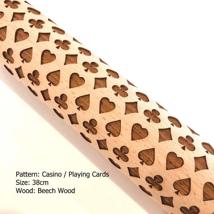 Embossed Wooden Rolling Pins_Casino Playing Cards