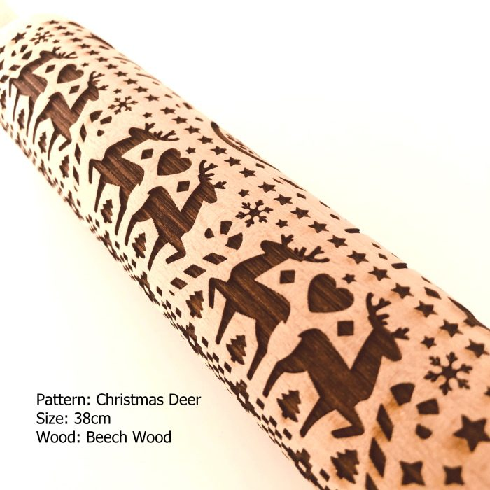 Embossed Wooden Rolling Pins_Christmas Deer