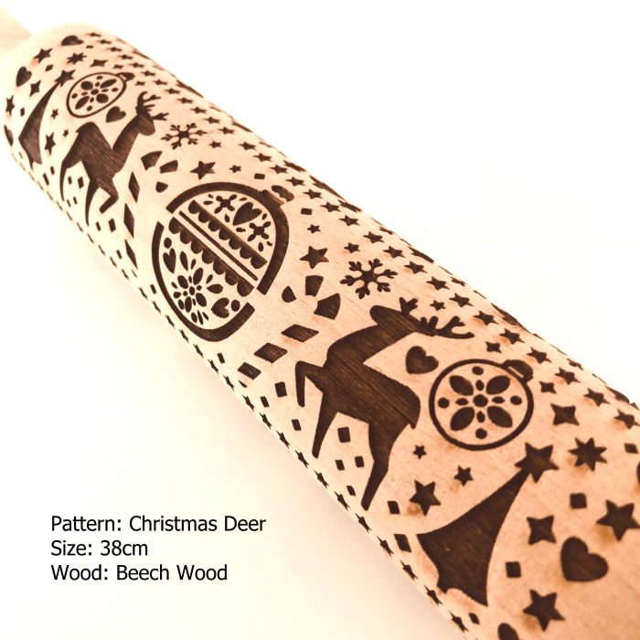 Embossed Wooden Rolling Pins_Christmas Deer_2