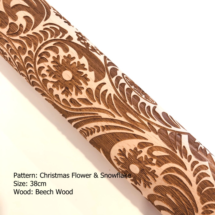 Embossed Wooden Rolling Pins_Christmas Flower Snowflake