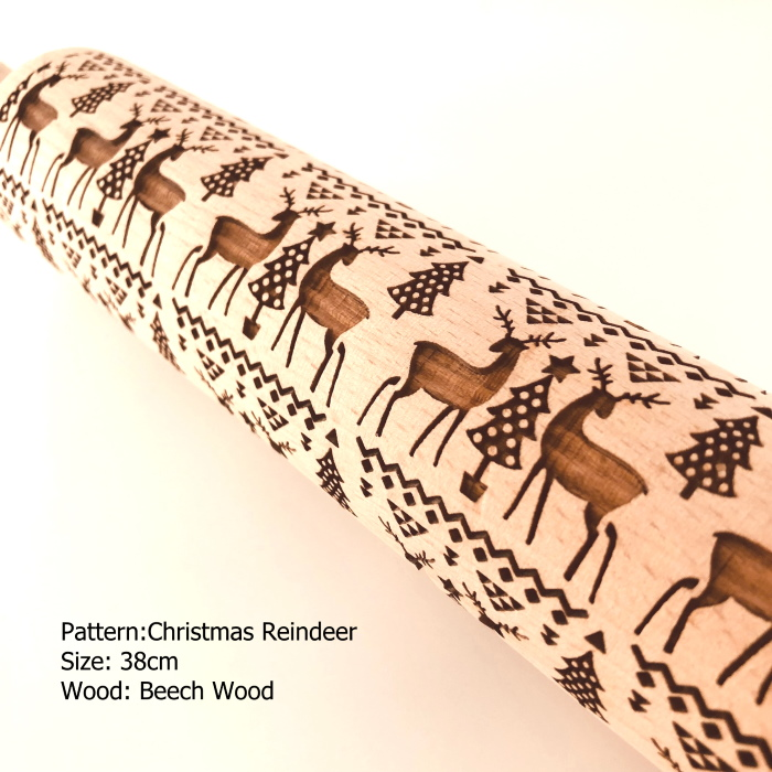 Embossed Wooden Rolling Pins_Christmas Reindeer
