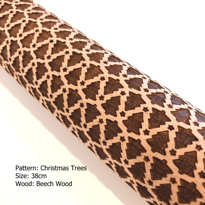 Embossed Wooden Rolling Pins_Christmas Trees