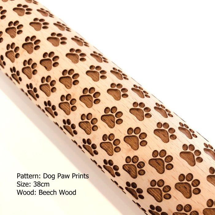 Embossed Wooden Rolling Pins_Dog Paw Prints