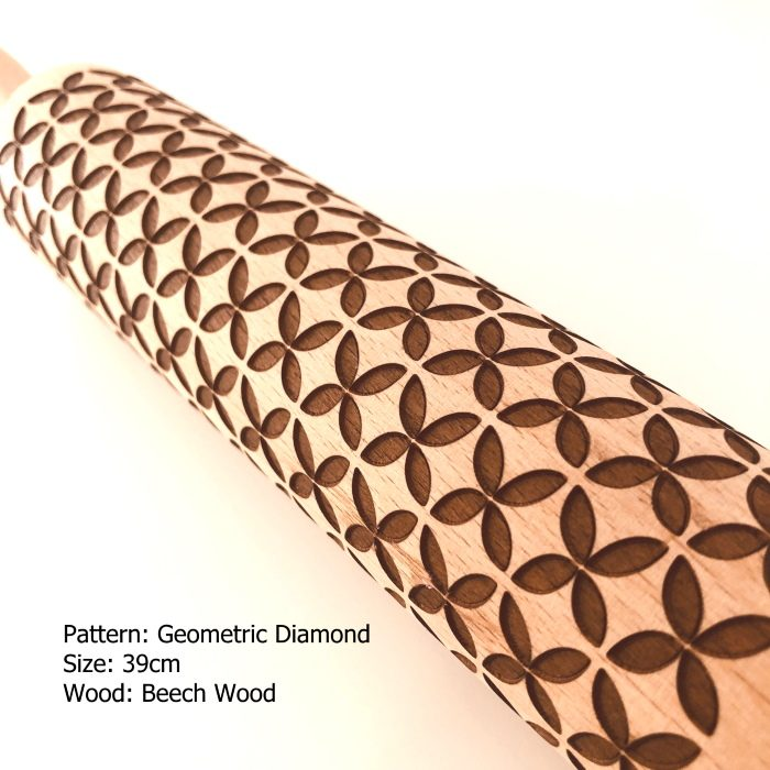 Embossed Wooden Rolling Pins_Geometric Diamond