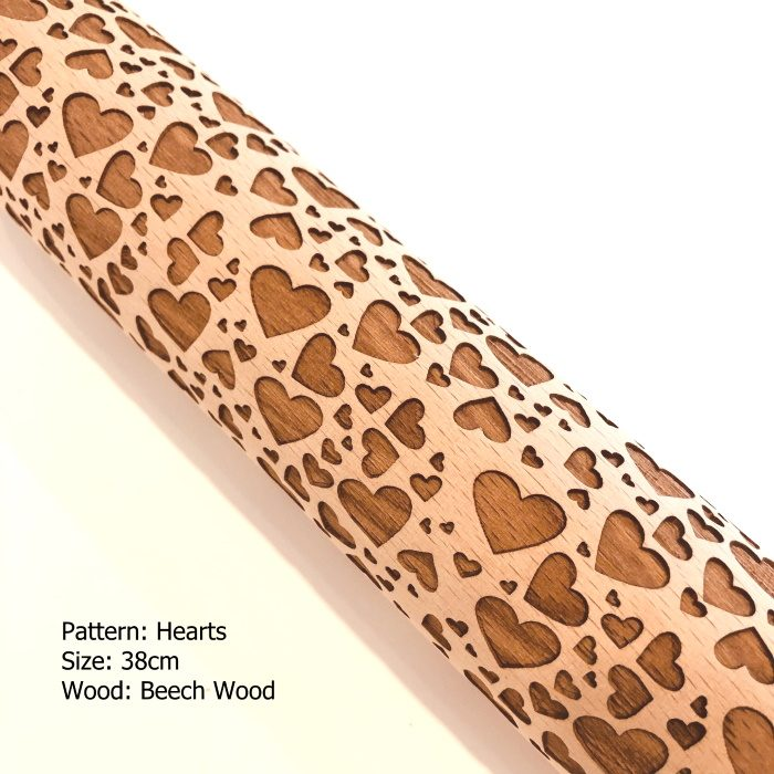 Embossed Wooden Rolling Pins_Hearts