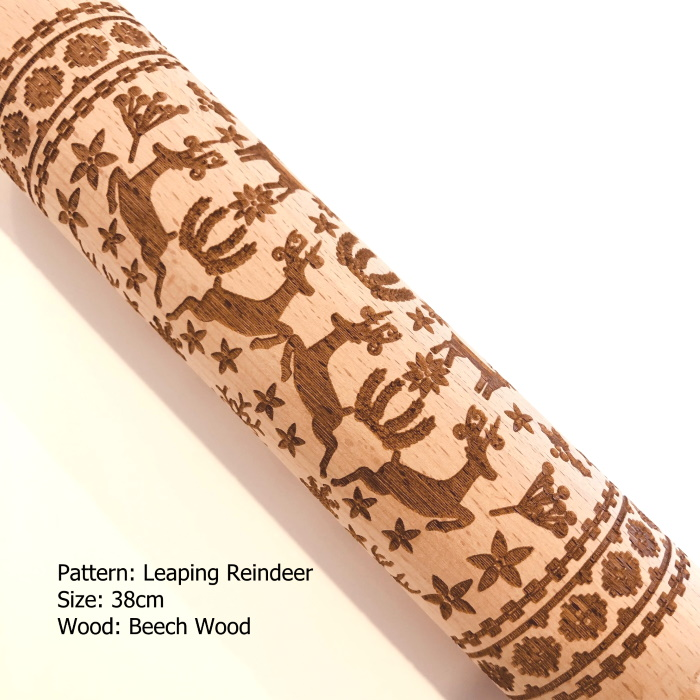 Embossed Wooden Rolling Pins_Leaping Reindeer