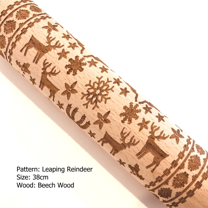 Embossed Wooden Rolling Pins_Leaping Reindeer_1