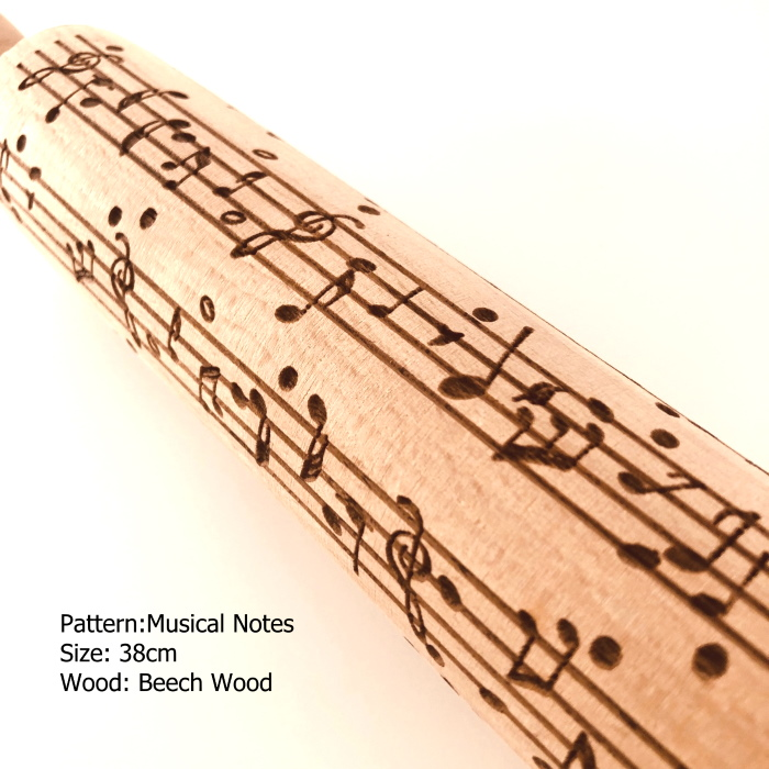 Embossed Wooden Rolling Pins_Musical Notes