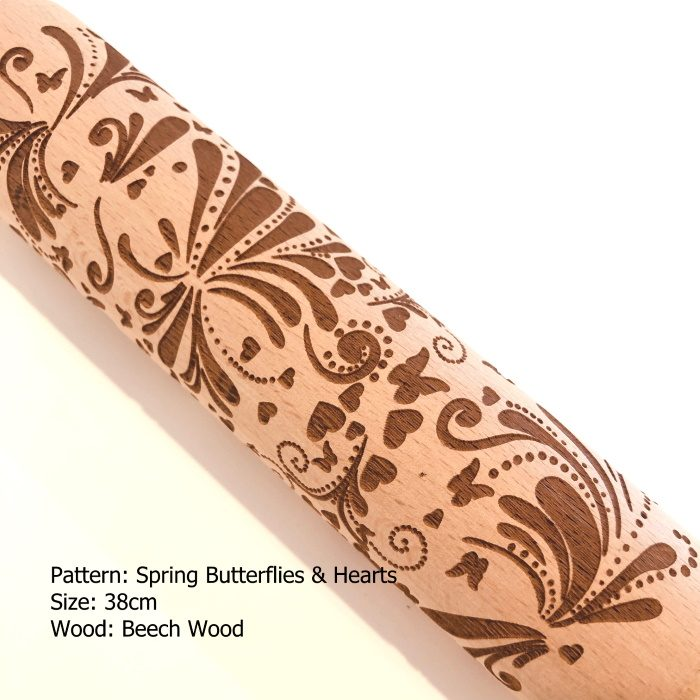 Embossed Wooden Rolling Pins_Spring Butterflies & Hearts