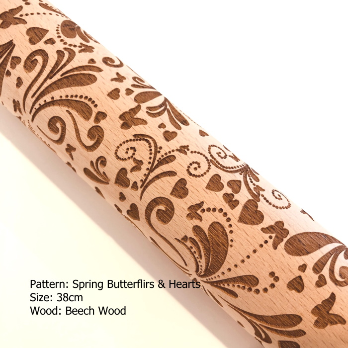 Embossed Wooden Rolling Pins_Spring Butterflies & Hearts_1