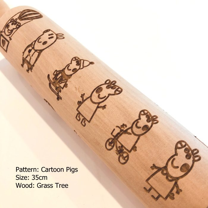 Wooden Embossed Rolling Pin_Cartoon Pigs