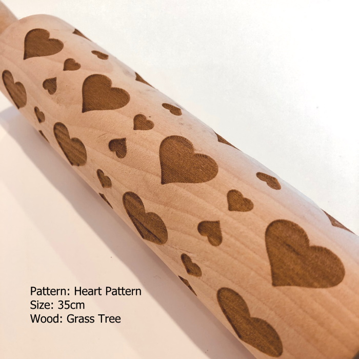Wooden Embossed Rolling Pin_Heart Pattern