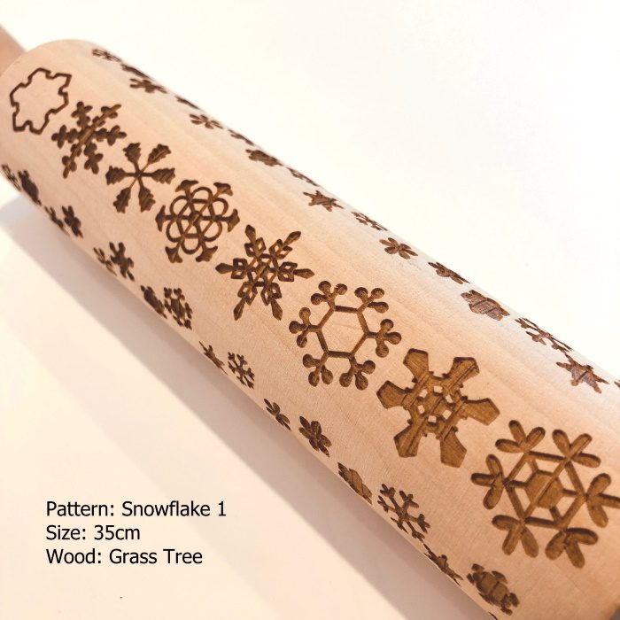 Wooden Embossed Rolling Pin_Snowflake 1