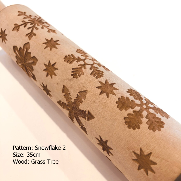 Wooden Embossed Rolling Pin_Snowflake 2