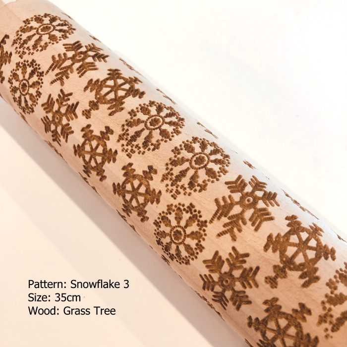 Wooden Embossed Rolling Pin_Snowflake 3