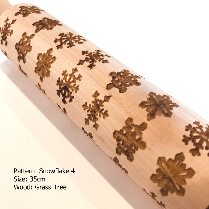 Wooden Embossed Rolling Pin_Snowflake 4