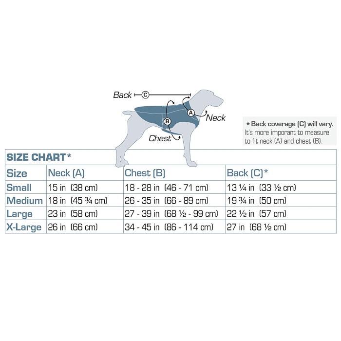 Kurgo Core Cooling Dog Vest_Size chart