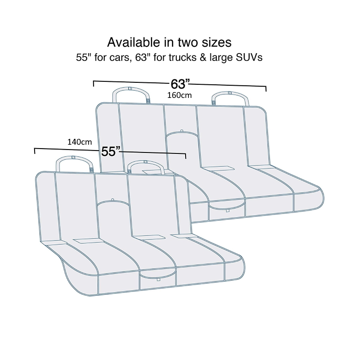 Kurgo Wander Bench Seat Cover_Sizes