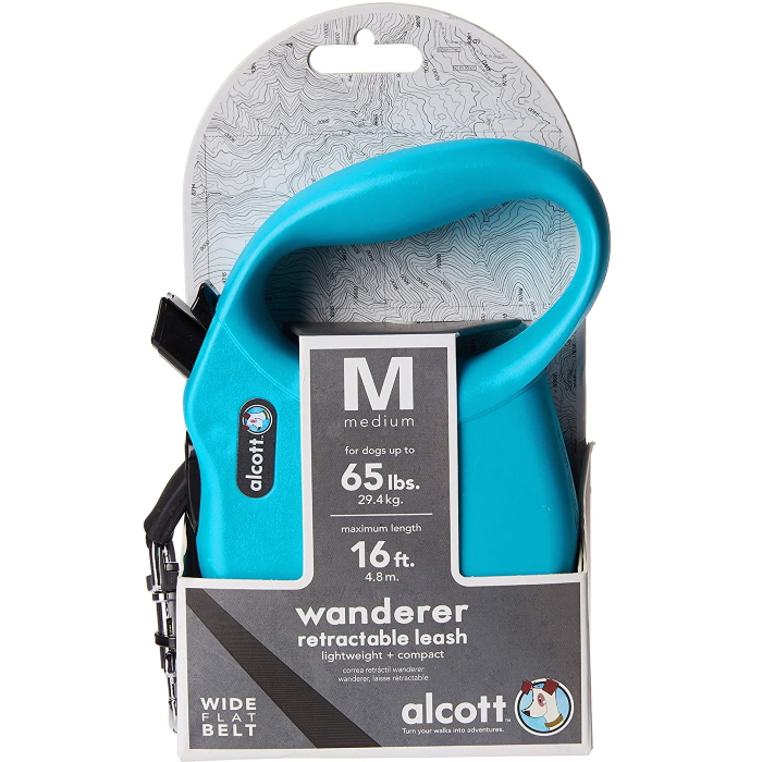 Alcott Wanderer Retractable Leash Medium Blue
