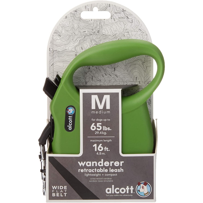 Alcott Wanderer Retractable Leash Medium Green