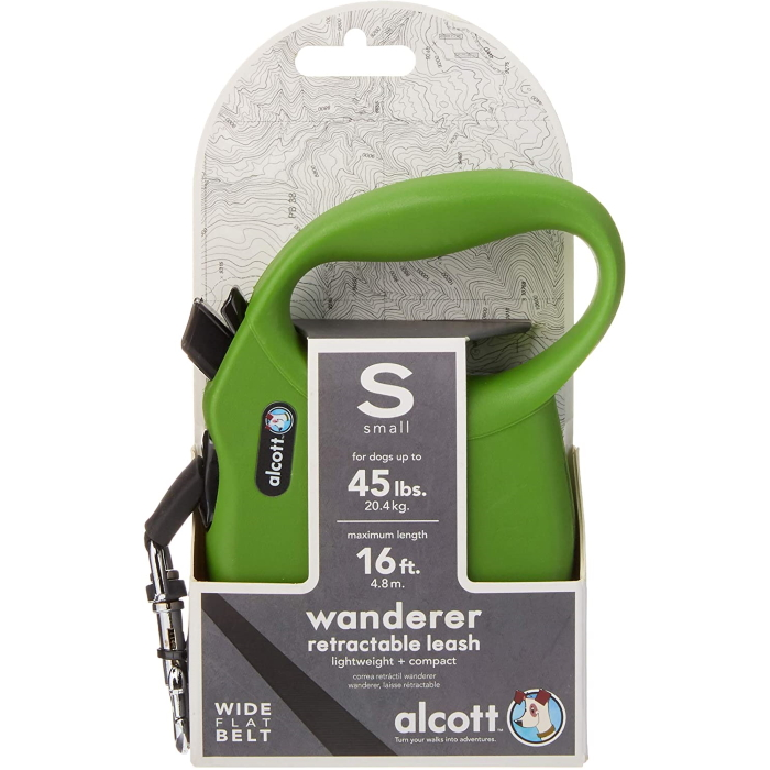 Alcott Wanderer Retractable Leash Small Green