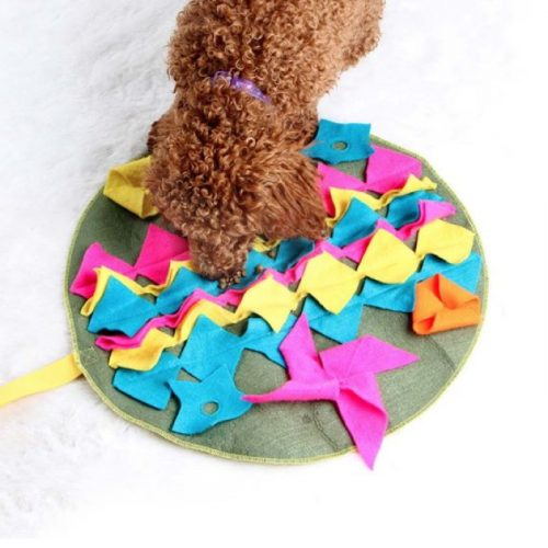Round Snuffle Mat for Dogs Teal