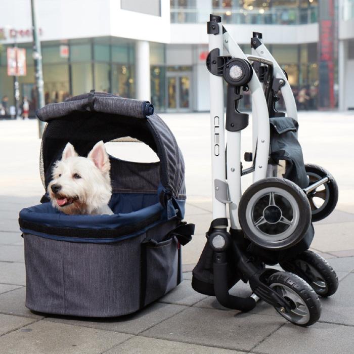 Ibiyaya Cleo Denim Multifunctional Pet Stroller Collapsible