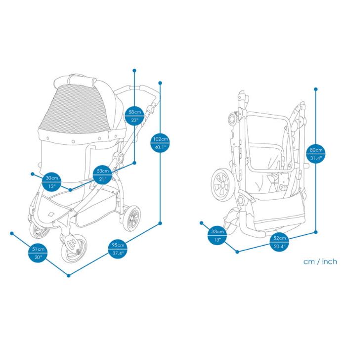 Ibiyaya Cleo Multifunctional Pet Stroller & Car Seat Travel System Dimensions