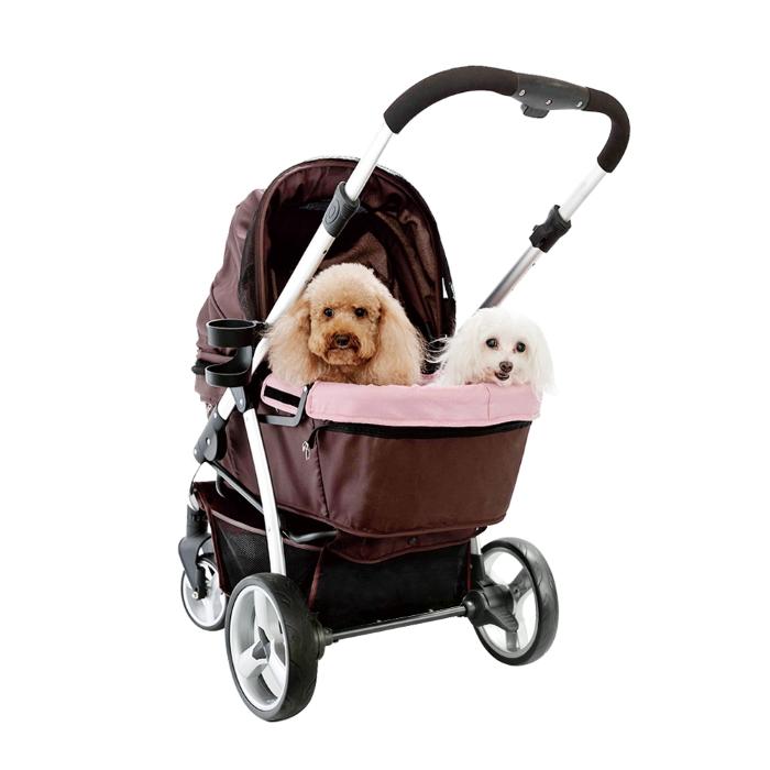 Ibiyaya Collapsible Retro Dog Stroller Brown & Pink 2 dogs
