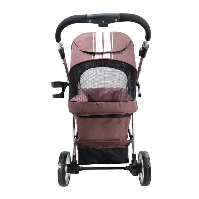 Ibiyaya Collapsible Retro Dog Stroller Brown & Pink Back