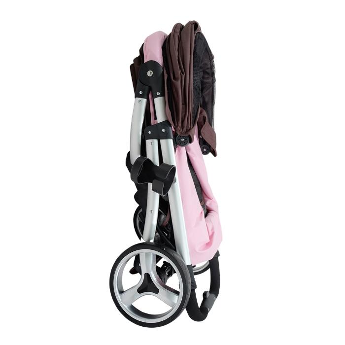 Ibiyaya Collapsible Retro Dog Stroller Brown & Pink Folded