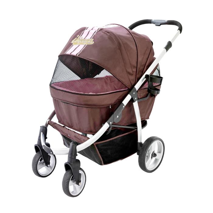 Ibiyaya Collapsible Retro Dog Stroller Brown & Pink Front