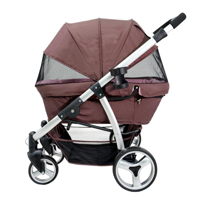 Ibiyaya Collapsible Retro Dog Stroller Brown & Pink Side
