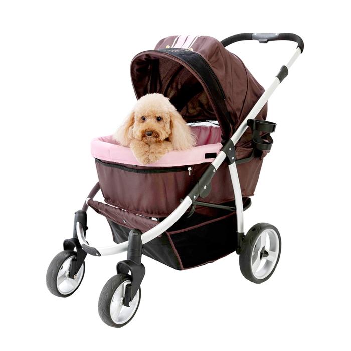 Ibiyaya Collapsible Retro Dog Stroller Brown & Pink