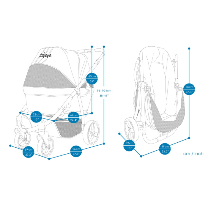 Ibiyaya Collapsible Retro Dog Stroller Dimensions