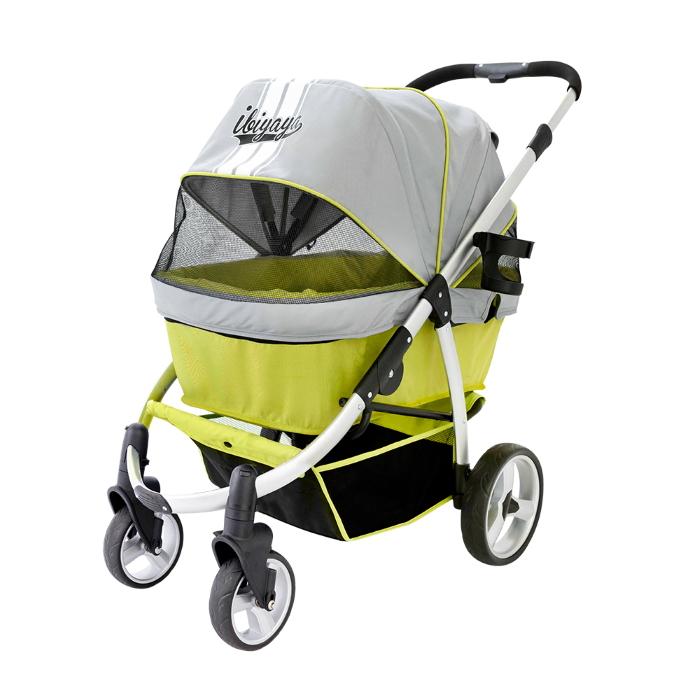 Ibiyaya Collapsible Retro Dog Stroller Green Front
