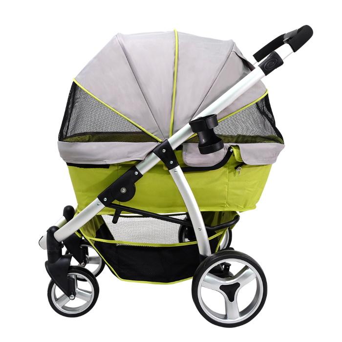 Ibiyaya Collapsible Retro Dog Stroller Green Side Canopy